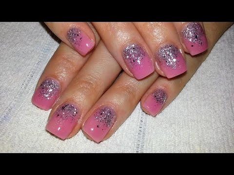 Short Acrylic Nail Design With Nude Pink And Silver Glitter Youtube