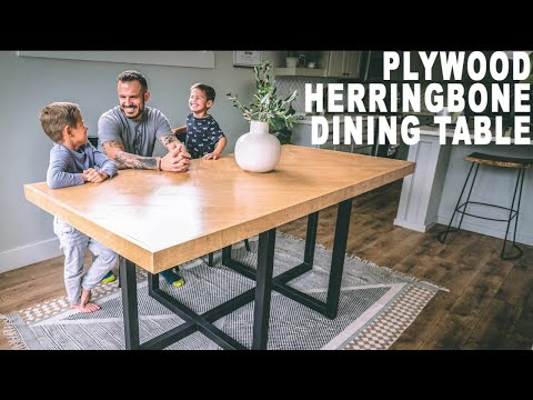DIY Plywood Herringbone DinningTable