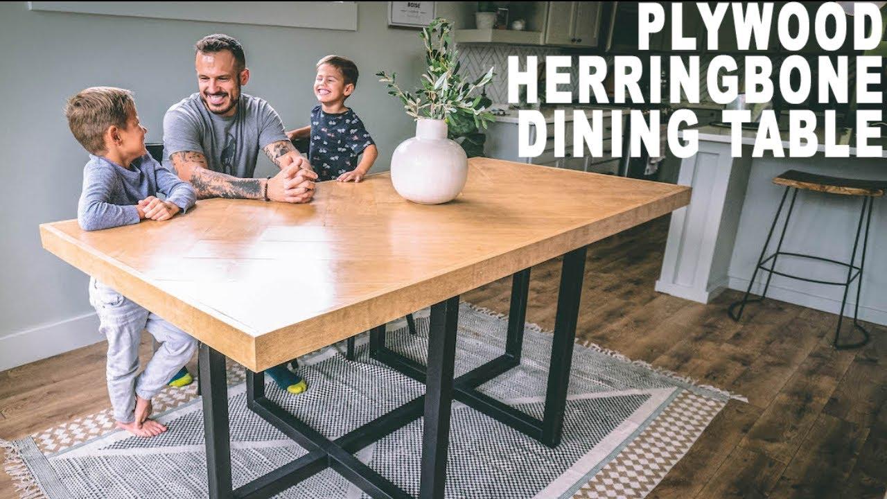 Diy Plywood Herringbone Dinningtable