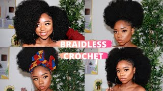 NATURAL CROCHET HAIR For Only $5 | NO BRAIDS, SUPER VERSATILE METHOD | Protective Style | Chev B