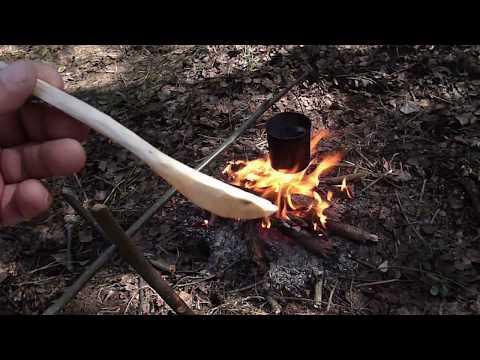Лесной чай и ложка бушкрафтера вырезанная ножом .spoon Bushcraft.