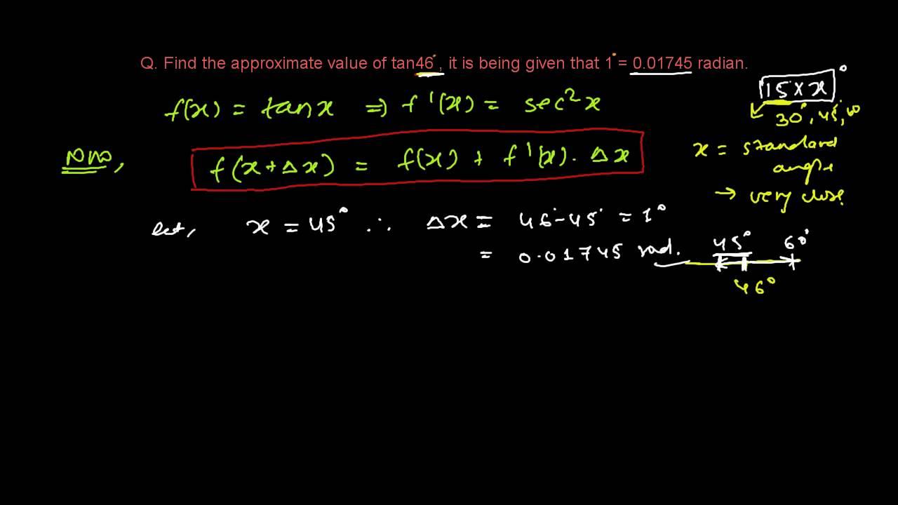 Approximate Value Of Trigonometric Angles Tan46 Youtube