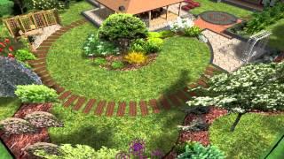 Apželdinimo projektas, sodo takeliai, lauko židinys, pavėsinė, atraminės sienelės