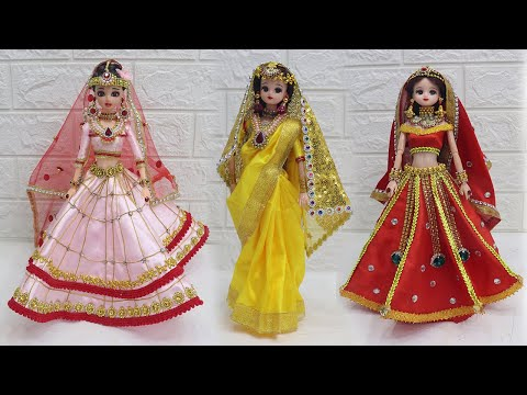 3 South indian bridal dress and Jewellery, Doll decoration with clothes