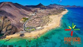 Porto Santo aerial view - Ponta da Calheta - Ilhéu da Cal - Praia do Cabeço - 4K Ultra HD