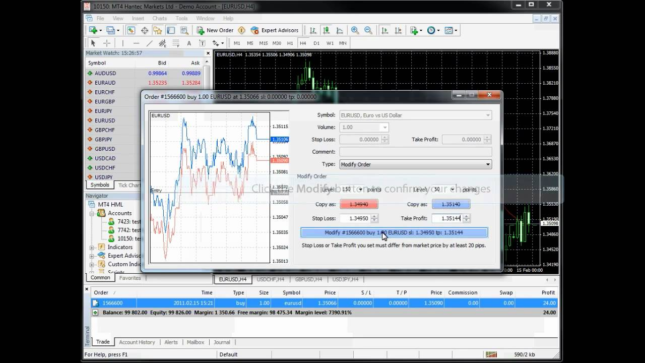 Metatrader 4 Mt4 How To Modify An Order Youtube