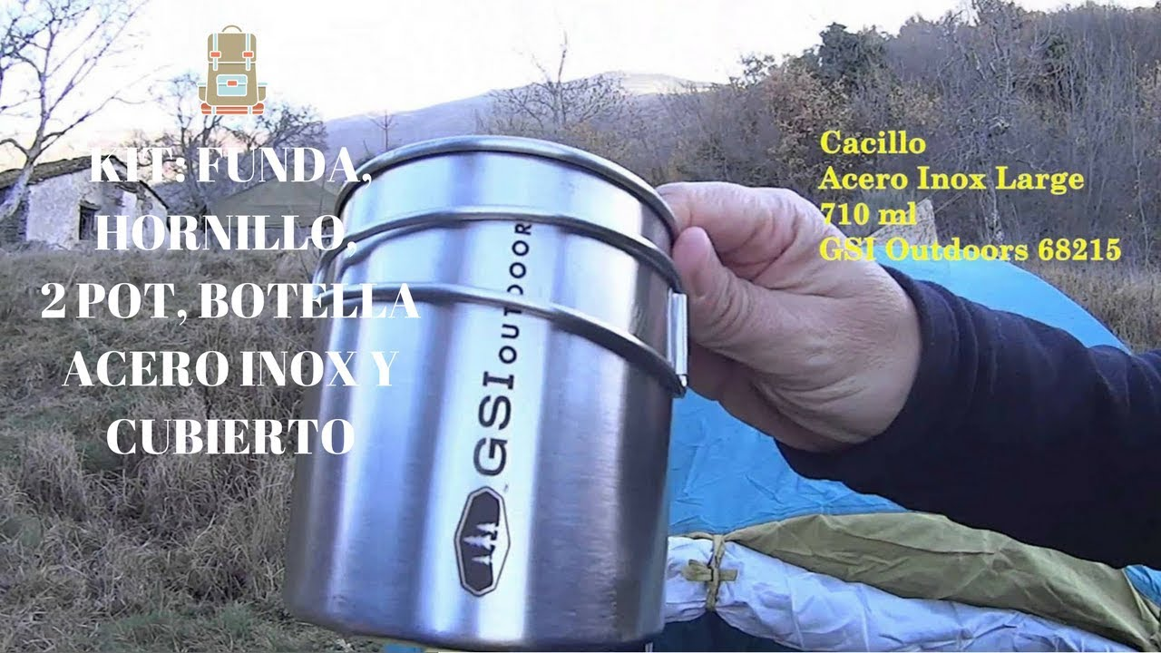 0540044cba4 Kit: Funda, Hornillo, 2 Pot, Botella Acero Inox y Cubierto by FerreHogar