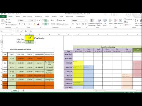 excel template for making reservations for common utilities like