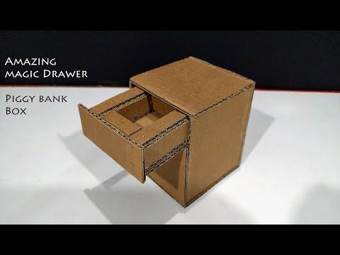DIY! How to Make Amazing Magic Drawer Piggy Bank Box With Cardboard