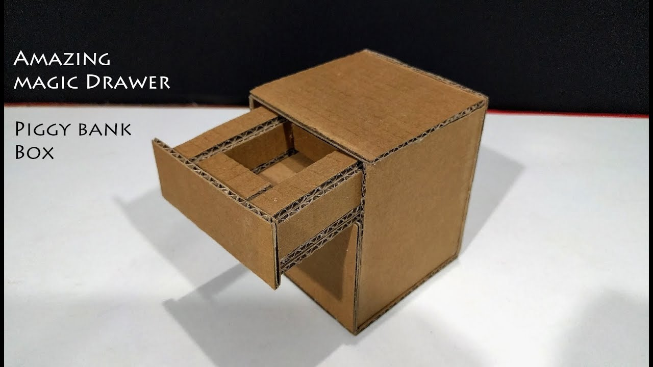 e7bd937018c3 DIY! How to Make Amazing Magic Drawer Piggy Bank Box With Cardboard ...