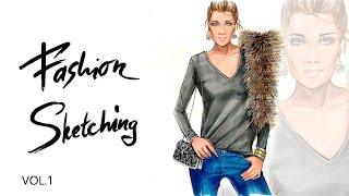 Fashion скетчинг: фактуры меха и трикотажа.
