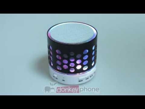 Altavoz mini cilindro led con Bluetooth, SD, USB, Radio FM, Aux y micrófono