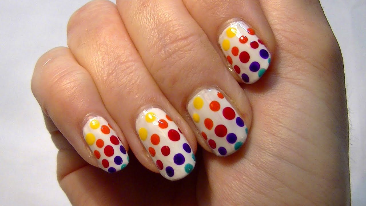Rainbow Spotty Nails! Cute & Easy Nail Art Polish Tutorial ...