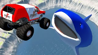 High Speed Cars Jump at Giant Blue Shark into Abyss - Beamng drive