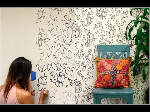 How to Stencil Cactus Wallpaper Design with Sharpie Marker Outline