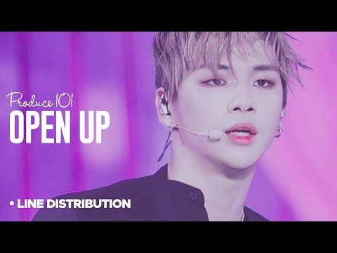 PRODUCE 101 - Open Up (열어줘) : Line Distribution (Color Code)