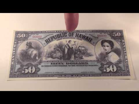 1895 $50 Republic of Hawaii Silver Certificate Note