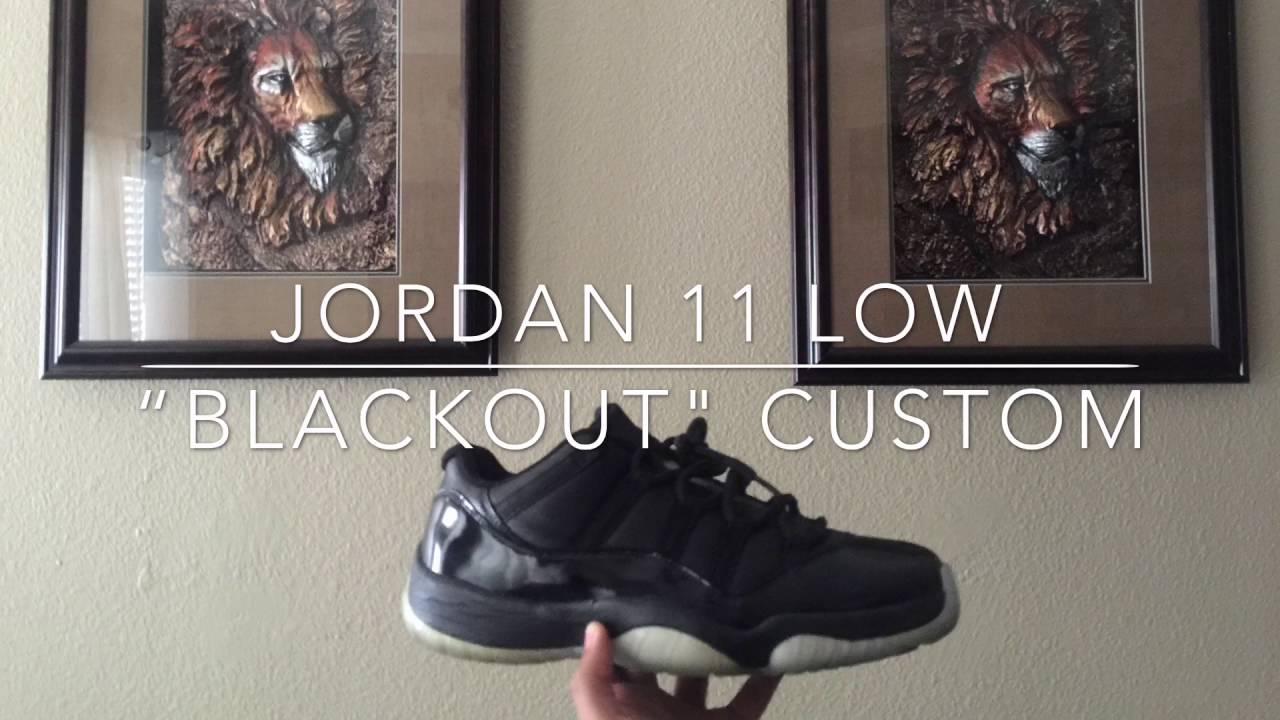 """b1ca7a3798e934 Custom Jordan 11 Low """"BLACKOUT"""