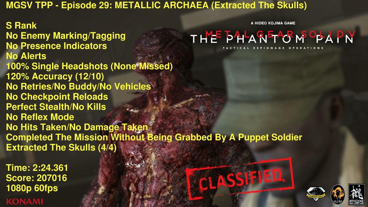 MGSV TPP - Episode 29: METALLIC ARCHAEA (Extracted The Skulls) S Rank 2:24