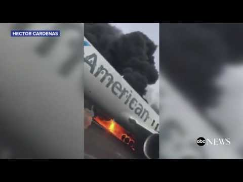 American Plane Fire | INSIDE the Plane Evacuation [RAW VIDEO]