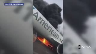 American Plane Fire | INSIDE the Plane Evacuation [RAW VIDEO]