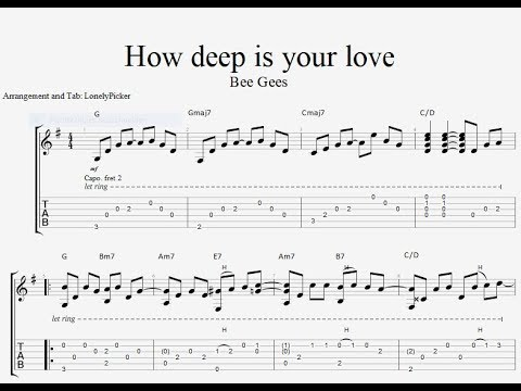 How Deep Is Your Love TAB fingerstyle guitar tab PDF Guitar