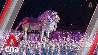 NDP 2019: Giant lion puppet makes roaring entrance