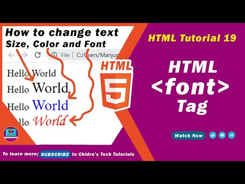 HTML Video Tutorial - 19 - Html Font Tag