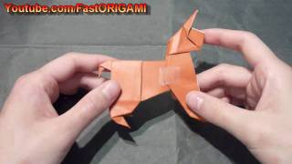 How To Make Easy 3d Origami Standing Dog 犬折り紙折り方狗折紙 Como Hacer Origami De Perro