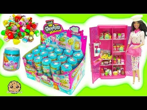 Full Box of 60 Season 6 Chef Club Shopkins Surprise Blind Bag Jars In Barbie Doll Refrigerator