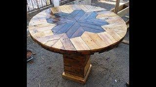 Mesa hecha con tarimas palets (pallets) flor .. carrete y tarimas