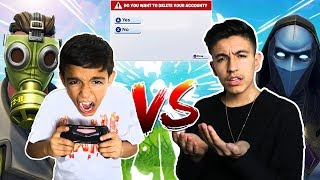 Intense Fortnite 1v1 Against 10 Year Old Little Brother! Loser DELETES Account! RAGE