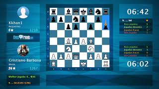 Chess Game Analysis: Cristiano Barbosa - Kkhan1 : 1-0 (By ChessFriends.com)