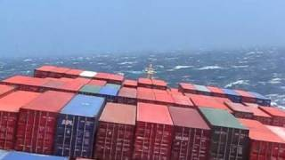 Huge Ship in Storm off of California, USA