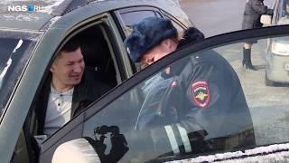 Водителей поздравляют с 23 февраля, Новосибирск, площадь Ленина