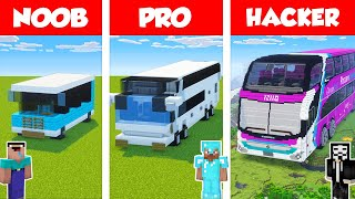 Minecraft NOOB vs PRO vs HACKER: BUS BUILD CHALLENGE in Minecraft / Animation