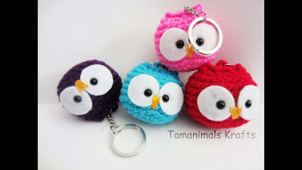 Crochet Purse Keychain Pattern : Crochet owl ornament/Key chain tutorial - YouTube