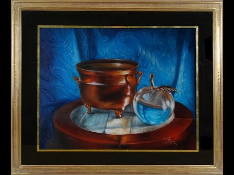 "How to paint realism stilllife""Copper Pot and Glass Apple"",by Lana Kanyo, full, speedX3"