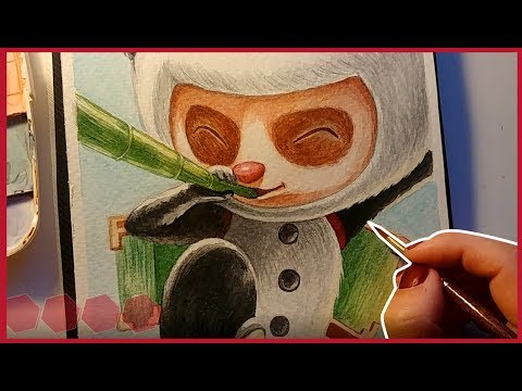 Panda Teemo Painting | League of Legends | Kuretake Watercolours