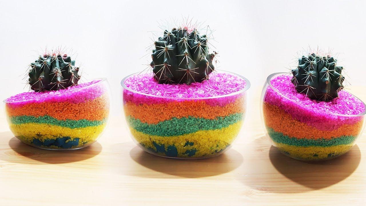 Layered Sand Succulent Cactus Planter Sand Art Succulent Cactus