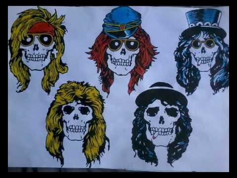 Drawing Guns N Roses Appetite For Destruction Skulls Youtube