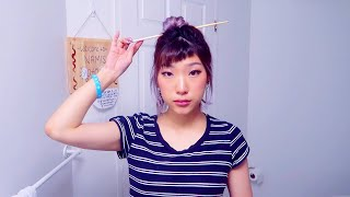 put your hair up with chopsticks or any long stick thing (even car keys lol)