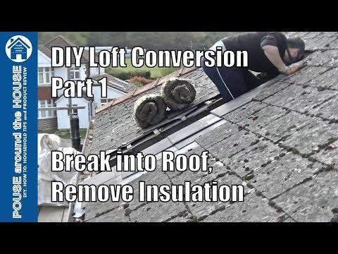 Loft conversion part 1 - Break into roof, remove old insulation & mortar. DIY Loft conversion