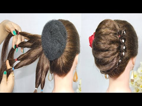 New French Bun Hairstyle || French Roll Hairstyle With donut bun || Braid Hairstyles 2019 thumbnail
