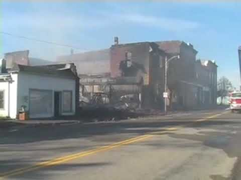 Street view of damage of the Fire in Wilson, Kansas