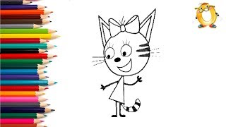 Раскраска для детей ГЕРОИ МУЛЬТИКОВ: три кота, свинка Пеппа, Смешарики, Микки Маус, Джордж.