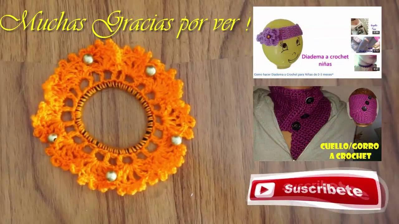26ece1a410bb Coletero o Liga para el Cabello Ganchillo con cuentas (Crochet)