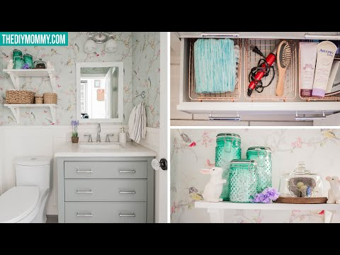 small-bathroom-organization- -dollar-&-thrift-store-finds!