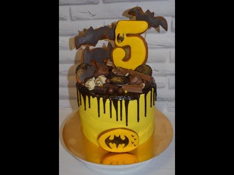 ***Как собрать и украсить торт на день рождения *Оформление детского торта БЭТМЕН*Детский тортик***