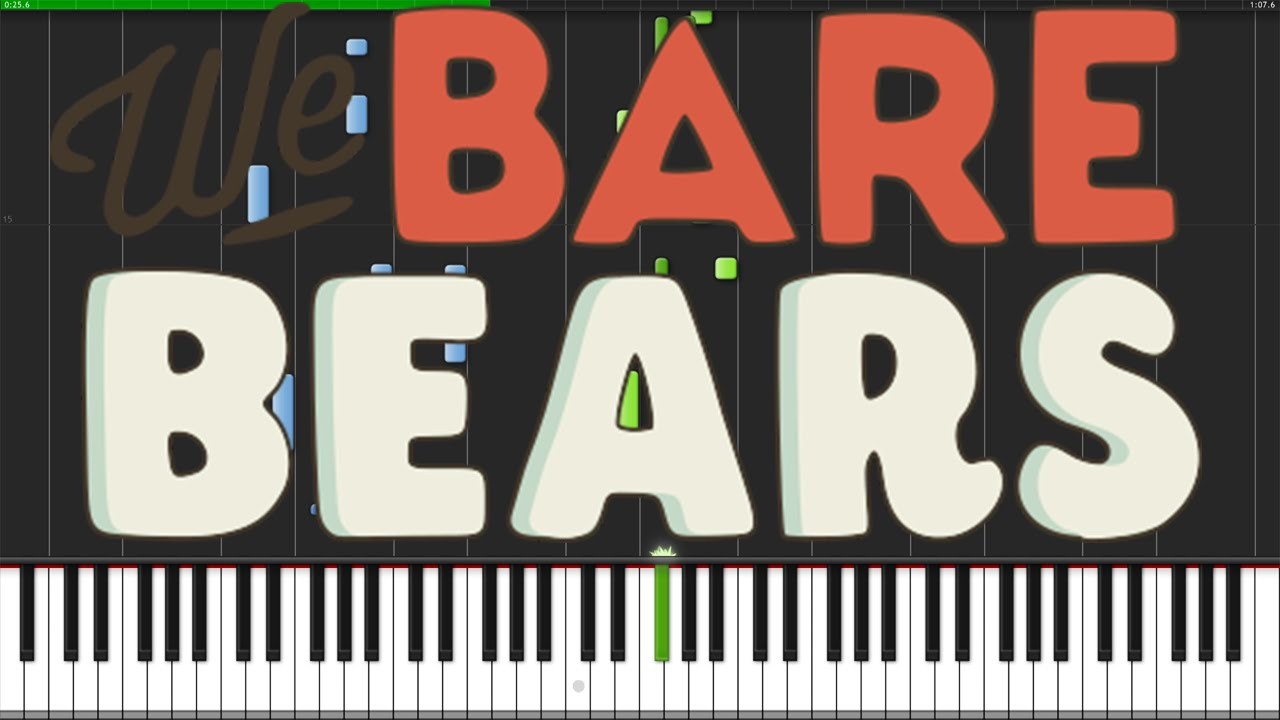 We bare bears theme piano tutorial synthesia fannix for Domon we the theme